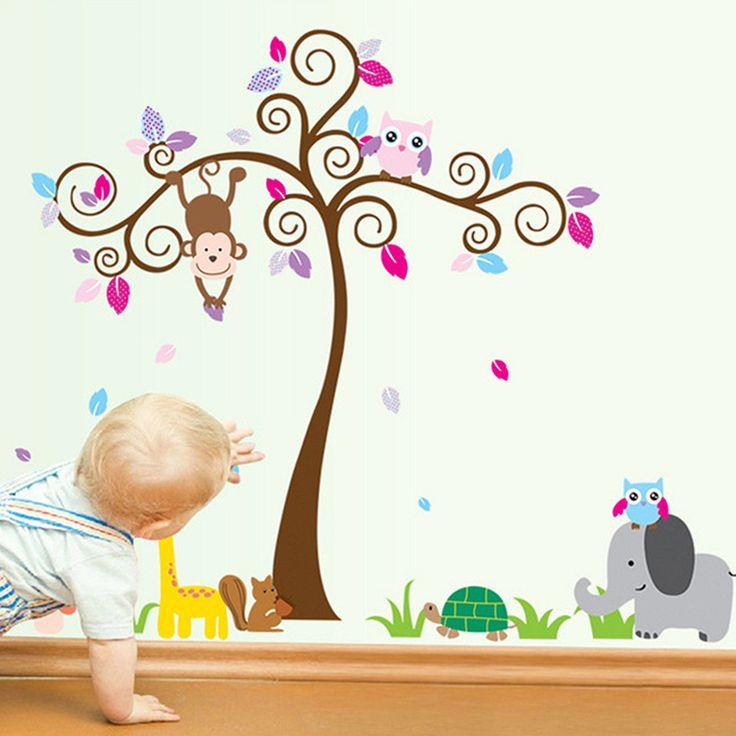 Kids Children Baby Bedroom Decoration Jungle Tree Animal Wall Paper Sticker Art Vinyl Nursery Decals
