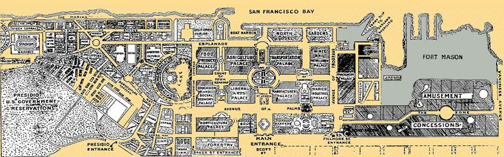 Panama-Pacific International Exposition grounds in what is now the Marina District. This was swampland until hydraulic pumping filled in the area, and piles driven to support the 1915 Exposition buildings.    Only the Palace of Fine Arts remains as a reminder of the 1915 Exposition.