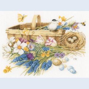 Spring Flowers Basket: Lanarte handwerkpakket, te borduren met telpatroon