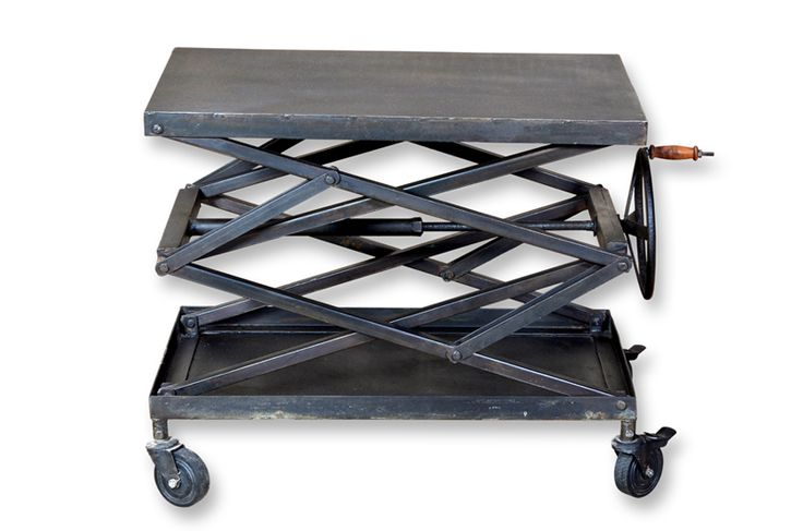 Jaden | Crank up this adjustable metal table to serve your guests with an industrial touch.