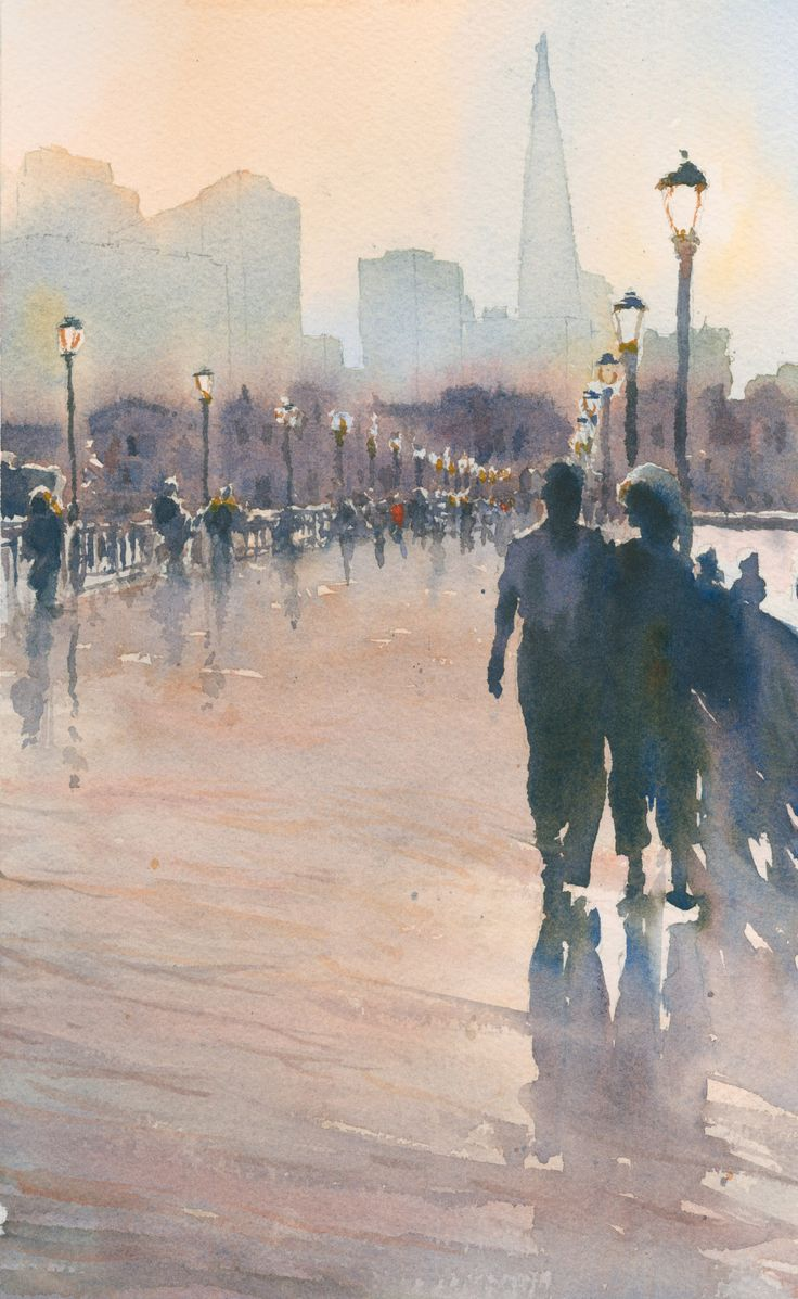 "Michael Reardon, ""Pier 7,"" Watercolor on paper 12"" x 7"""
