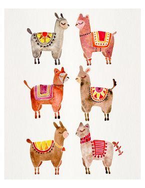 Alpacas – Watercolor Painting Print by CatCoq. Museum-quality posters made on thick, Archival, matte paper. Alpaca • Animals • Peru