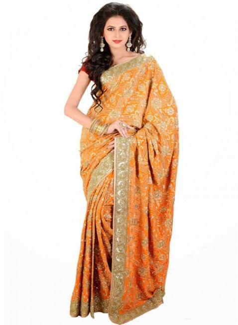 Ravishing Orange Color Chiffon Based Embroidered #Saree With Resham Work #clothing #fashion #womenwear #womenapparel #ethnicwear