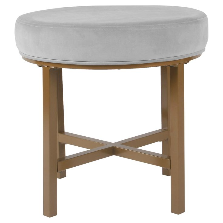 Circle Ottoman with Gold Metal X-Base- HomePop - image 1 of 5