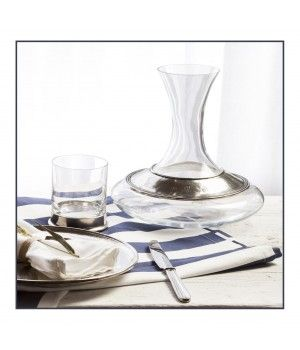 Pewter & glass decanter h 22,5 cm - 2 L