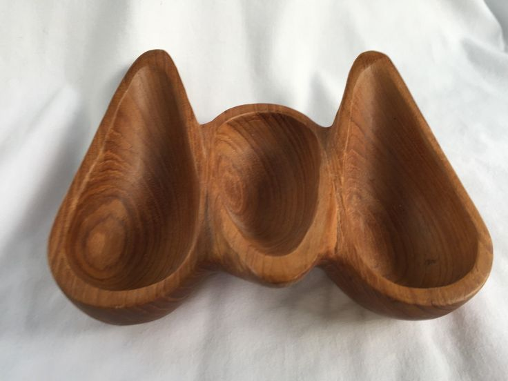 OMid Century Modern Teak Bowl Three Section Bowl oval shaped sections pipe holder by StudioVintage on Etsy