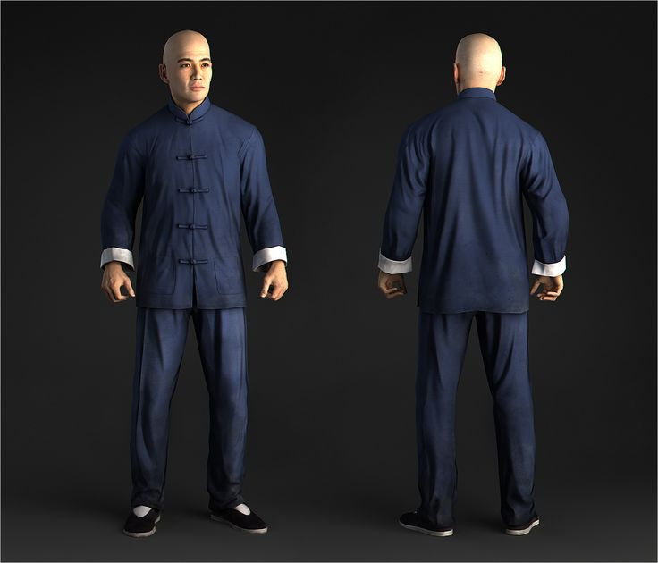 Chinese man wear blue chinese suit, game character in 3d