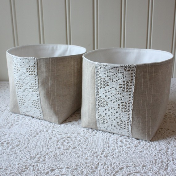 linen and lace -fabric bin, set of 2 small