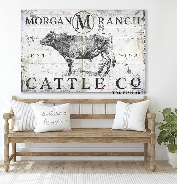 Modern Farmhouse Wall Decor Cattle Company Last Name Established