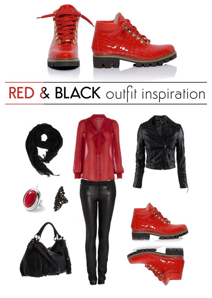 Wear a red pair of Daisy boots made of natural leather, pairing them with black clothing item, for a chic and trendy look @joyasromania