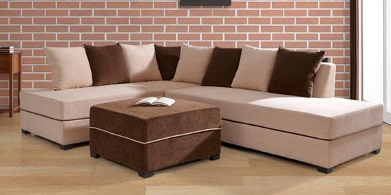 Apollo Rhs Sectional Sofa With Pouffe In Light Brown Colour By