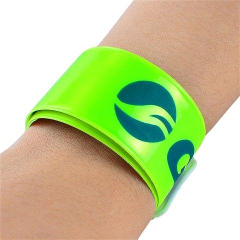 Reflective Slap Wrap Snap Wrist Band Bracelet - Bike Safety (Neon Green)