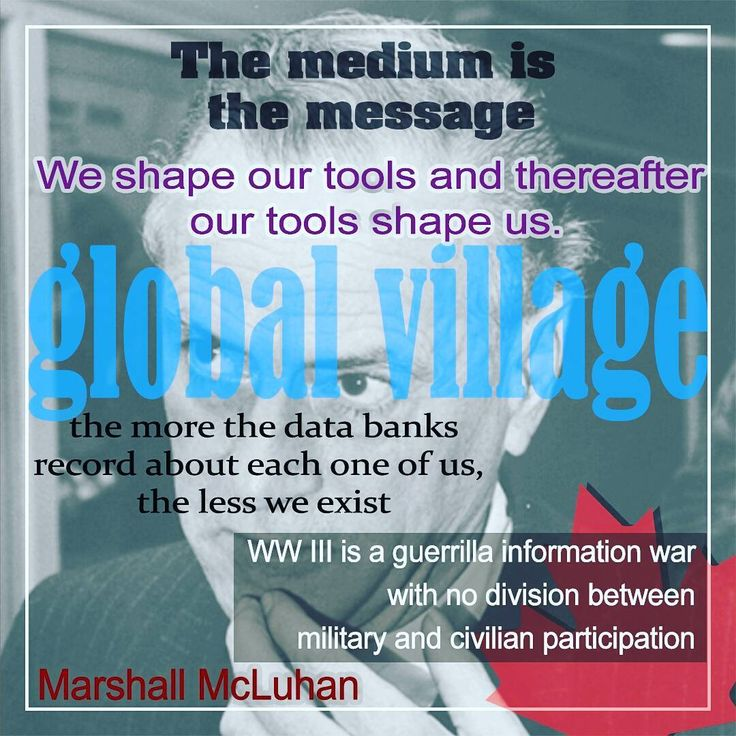 #Marshall #McLuhan (1911-1980)  A prominent #Canadian #philosopher, #futurist and #communications #theorist. McLuhan contends that all #media -in and of themselves and regardless of the messages they communicate -- exert a compelling influence on #man and #society through the environmental changes they cause.