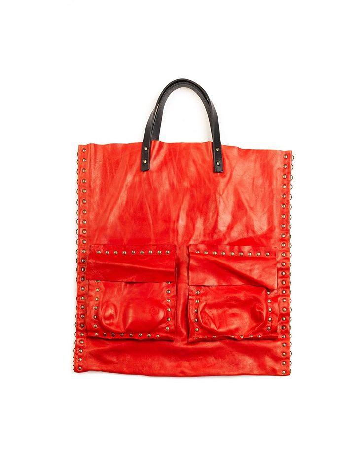 THE LOSER PROJECT Red shopping with double handle four patch pockets 100% Leather Dimensions: 45x45 cm