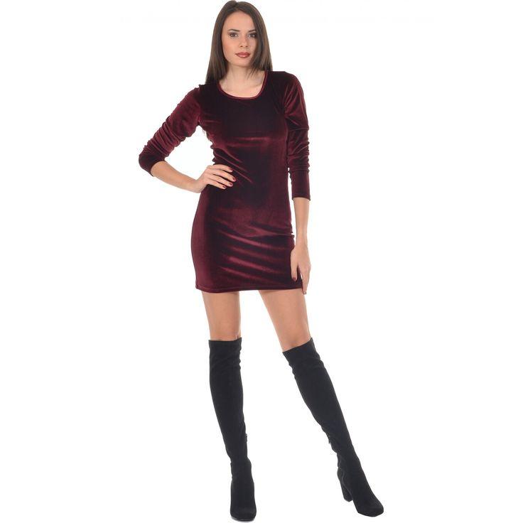 Φόρεμα βελούδο μίνι σε εφαρμοστή γραμμή