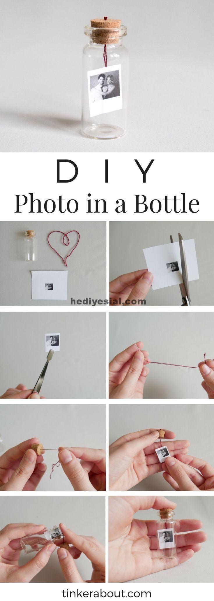 DIY kleines Foto / Nachricht in einer Flasche als Geschenkidee zum Valentinstag,…