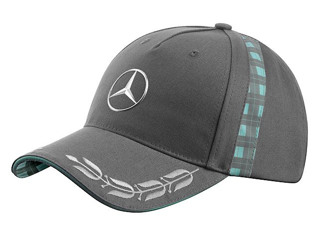 Men's Baseball Cap Heritage Colour: grey Material information: 100% cotton  This sporty baseball cap with its elegant retro look has attractive green-check details at the sides and on the underside of the peak.  The upper side of the peak is embroidered with laurel wreaths in silver-grey.  The large, central, 3D chrome star logo is a particularly eye-catching feature of this cap.  Vintage Mercedes lettering is embroidered on the back.