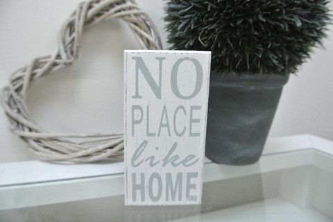 "No Place Like Home - Divine Shabby Chic  This ""No Place Like Home"" wooden block is the perfect addition to the home.  Measuring 12cm x 6cm and comes in white with light grey font.  Ideal House Warming gift"