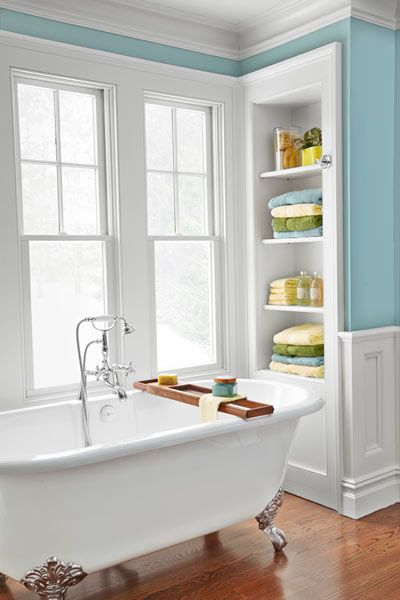 White Clawfoot Tub In Blue And White Bathroom Built In