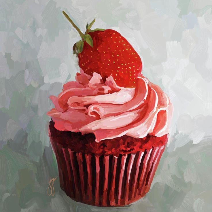 Strawberry Cupcake Painting  - Strawberry Cupcake Fine Art Print