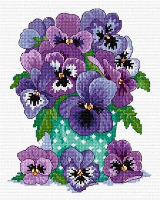 Mauve pansies in cross stitch
