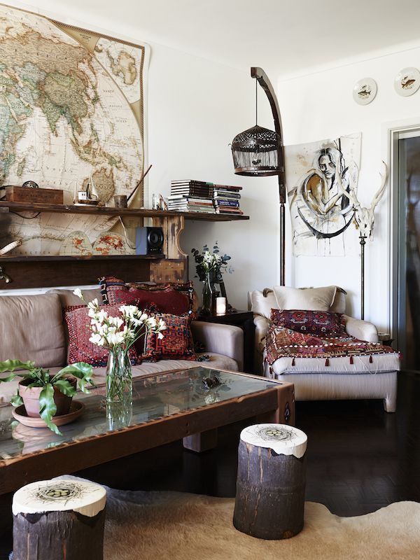 Living room. Cushions are Persian nomadic, coconut stump stools are a collaboration by Dion Antony Artisan X Vanessa Bate (hand painted nest...