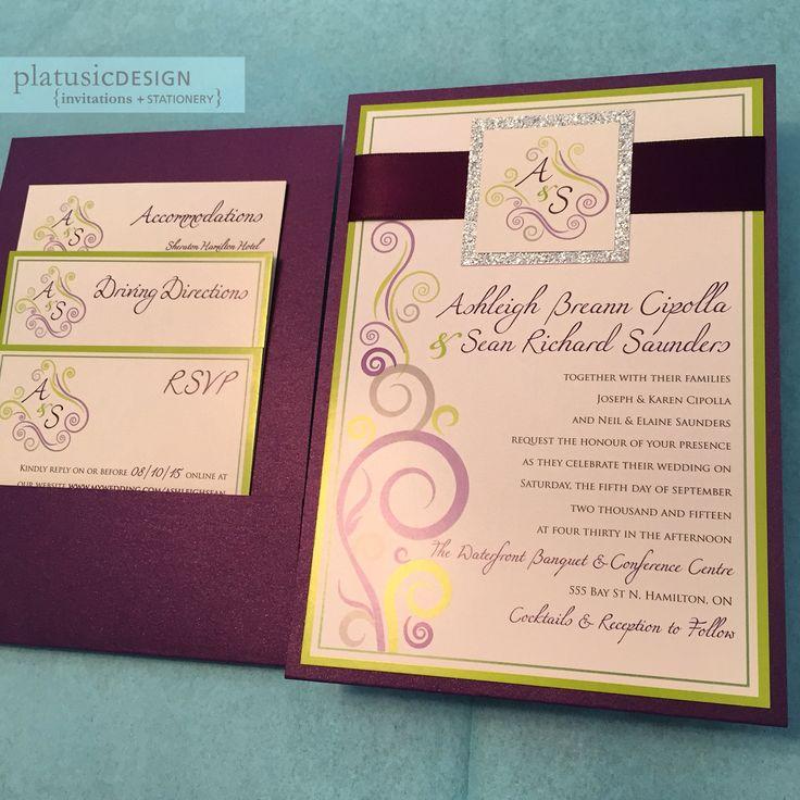 monogram wedding envelope seals sticker%0A Custom Swirls Design Wedding Invitation Reverse pocket style Purple shimmer  and lime green with glitter silver