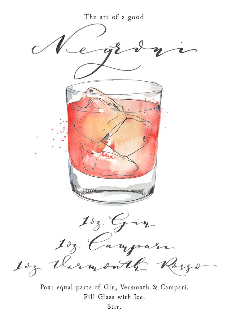 Negroni cocktail watercolour illustration. Modern calligraphy ingredients and recipe. To order a bespoke illustration or illustrated wedding stationery, click on 'visit' and get in touch with your ideas.