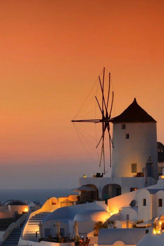 Sunset in Oia, Santorini , Greece