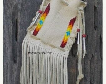 Beaded medicine bag Drawstring medicine bag by thunderrose