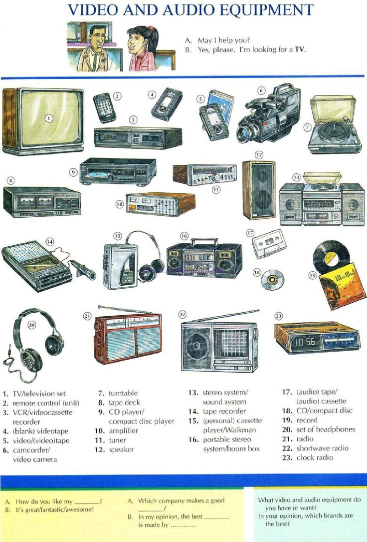 59 - VIDEO AND AUDIO EQUIPMENT - Pictures dictionary - English Study, explanations, free exercises, speaking, listening, grammar lessons, reading, writing, vocabulary, dictionary and teaching materials