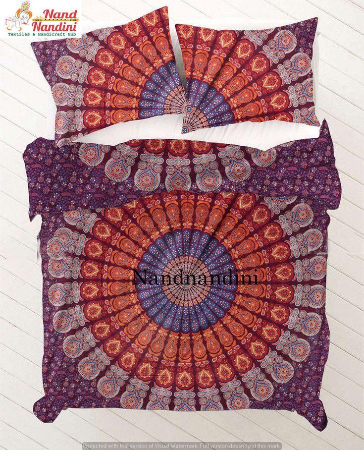 indian bedroom decor cotton quilt throws blankets boho mandala queen duvet cover handmade asian