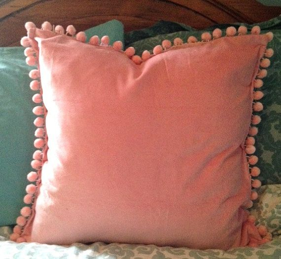Pink Velvet Pillow Cover with Pink Pom Pom Ball Trim