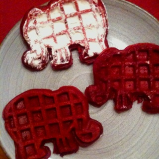 Red velvet elephant waffles with cream cheese icing. Game day breakfast
