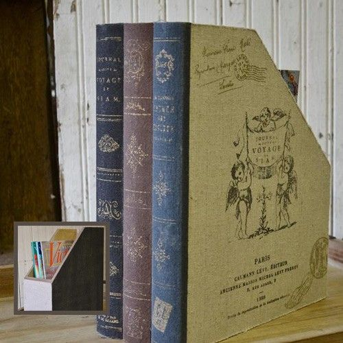 INSPIRATION :: Canvas Book Stash Magazine File from #DecorSteals :: This gives me the idea to cover inexpensive magazine holders w/ the spines of old hardcover books (dictionaries, encyclopedias...).