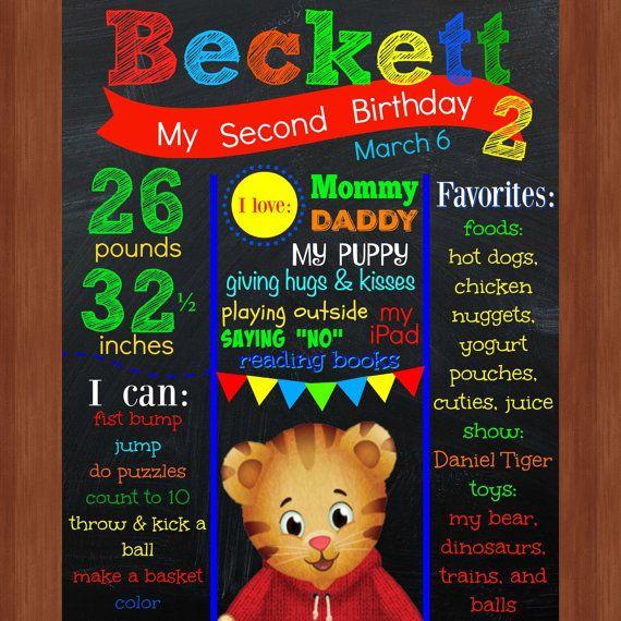 Daniel tigre 2e anniversaire Chalkboard fichier - coloré - Daniel Tiger - deuxième anniversaire - imprimable - Tiger - anniversaire Chalkboard - CUSTOM