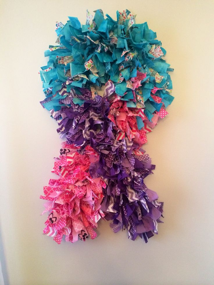 Thyroid Cancer Awareness Ribbon Wreath Diy Pinterest