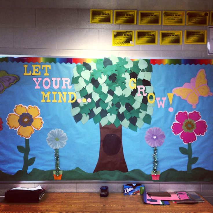 Spring bulletin board for teachers in elementary school. Creative. Colorful. Flowers. Let your mind grow. #classroom #bulletinboard