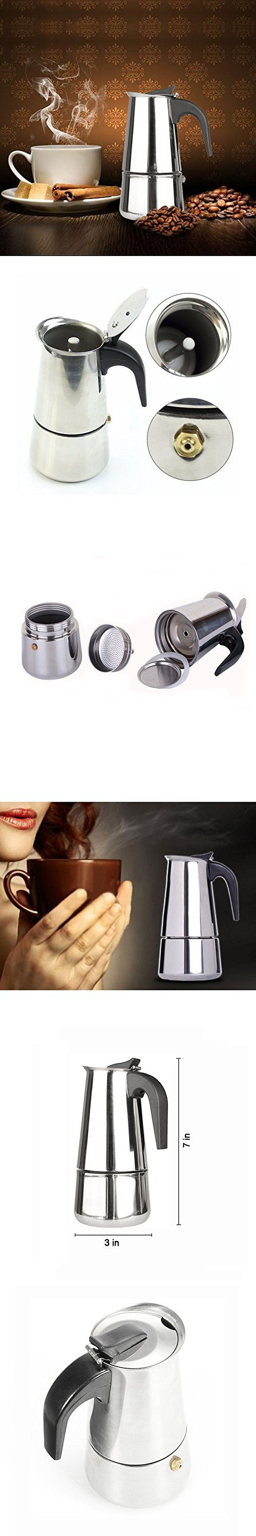 Stainless steel stovetop espresso maker 10 cup - Stovetop Espresso Moka Pot Stainless Steel Coffee Maker 4 Cup