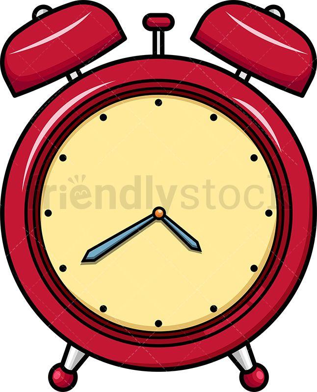 Red Vintage Alarm Clock Icon Cartoon Vector Clipart Friendlystock Vintage Alarm Clocks Clock Icon Clock