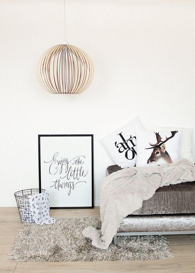 Hängelampen - 40cm Holz Lampe, Pendelleuchte , Holz Hängelampe - ein Designerstück von KWUD bei DaWanda