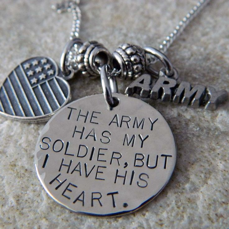 The Army has my Soldier, But I have His Heart Necklace. $33.00, via Etsy.
