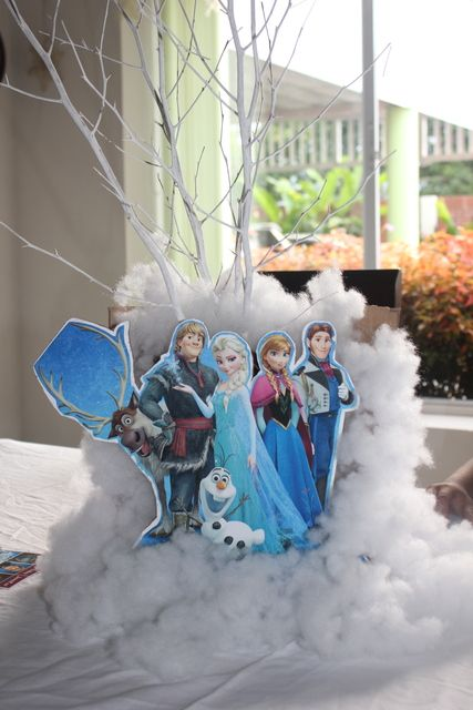 Anna and Elsa decorations at a Frozen Movie Night girl birthday Party!  See more party ideas at CatchMyParty.com!