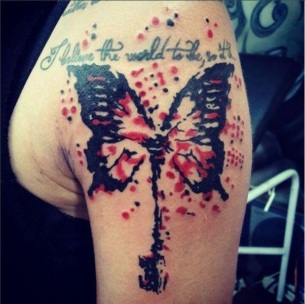 Butterfly shoulder tattoo. Artist: Kegan Neuper.  Style Ink Tattoos