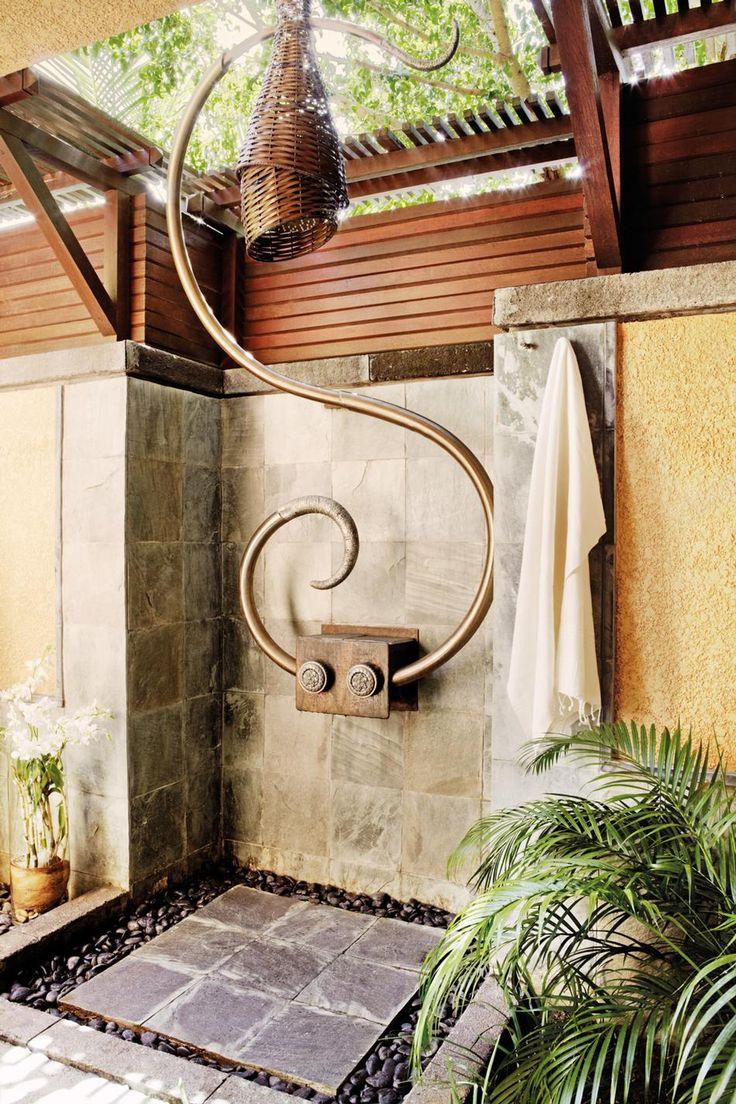 Outdoor shower  #bathroom tiles, shower, vanity, mirror, faucets, sanitaryware, #interiordesign, mosaics,  modern, jacuzzi, bathtub, tempered glass, washbasins, shower panels #decorating