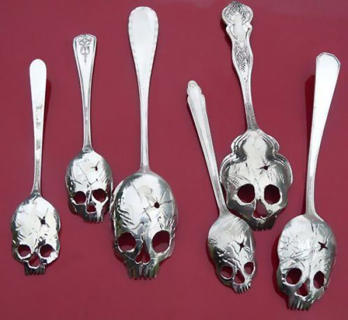 Silver Skull spoons by artist Tom Sale