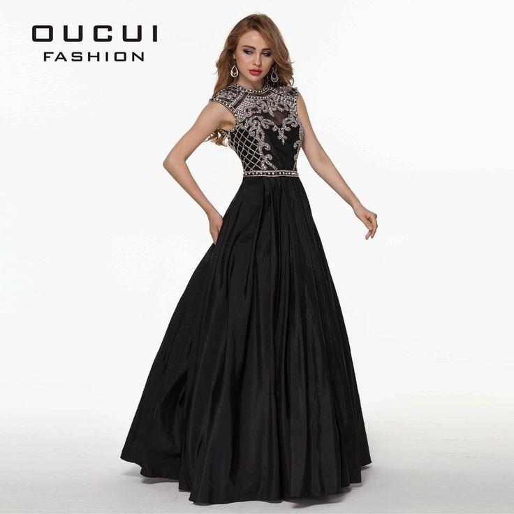 Taffettà tessuto 100% di lavoro manuale disegno sexy colore nero lungo di cristallo prom dress ol102515