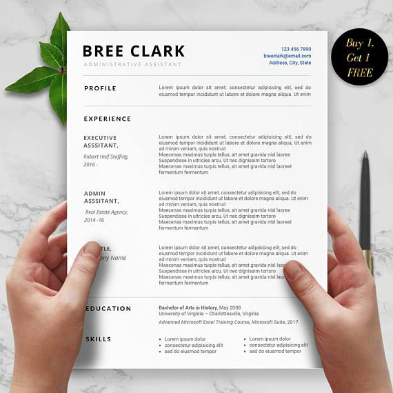 Admin Resume Template - Bree Clark   This 1 or 2 page resume design is ideal for any Administrative Assistant role. This functional template features clear sans serif fonts, two column design, and two tone color scheme that will stand out to any hiring manager or a recruiter. Use this