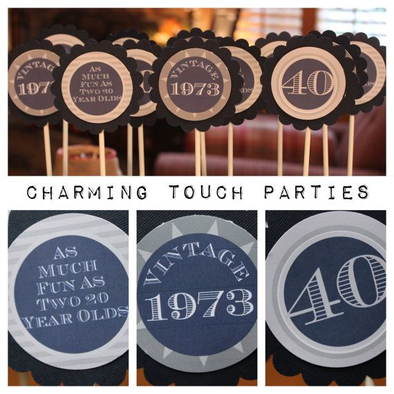 Custom masculine and modern 40th birthday by CharmingTouchParties, $21.00
