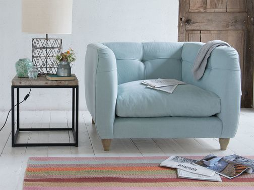 Happy is a gorgeous, button back armchair. It has a lovely relaxed feel making it the perfect armchair! Order free fabric swatches online.